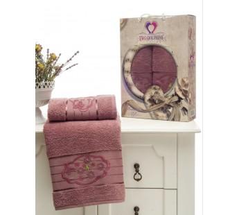 8804 Светло Розовый Брусн. Романтика махра (50х90+70х140 ) Набор полотенец в коробке TWO DOLPHINS