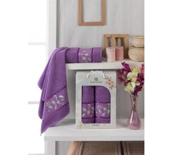 10187 Фиолетовый DAISY GOLD (50х90+70х140 ) в коробке Набор полотенец MERZUKA