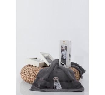 9386 Темно-серый Собачка Махра 50х90х1шт Полотенце в коробке Метеор