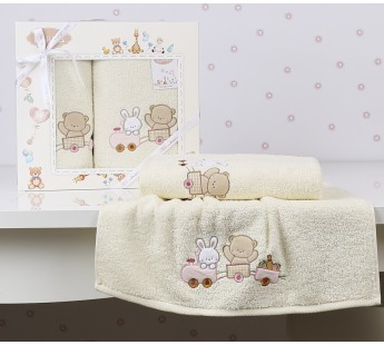 "Комплект полотенец ""KARNA"" детский BAMBINO-TRAIN 50x70-70х120 см Mолочный"