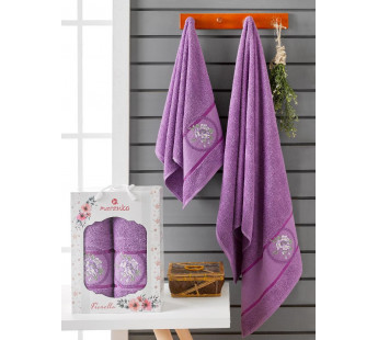 10167 Фиолетовый FIORELLA махра ( 50х90+70х140) в коробке Набор полотенец MERZUKA
