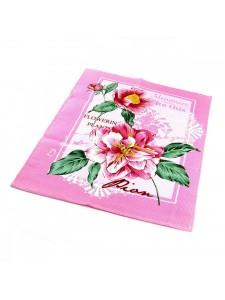 Набор Полотенец ваф. ПИОН розовый-( 3шт. в упаковке ) 50x60 - 3шт в уп. Вальтери Хлопок