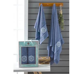 10165 Темно-голубой ELEGANT (50х90+70х140 ) в коробке Набор полотенец MERZUKA