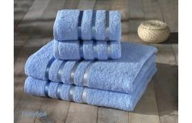 953 BALE Голубой (50х80х2шт+70х140х2шт) комплект махровых пол-нец Карна