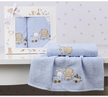 "Комплект полотенец ""KARNA"" детский BAMBINO-TRAIN 50x70-70х120 см Голубой"