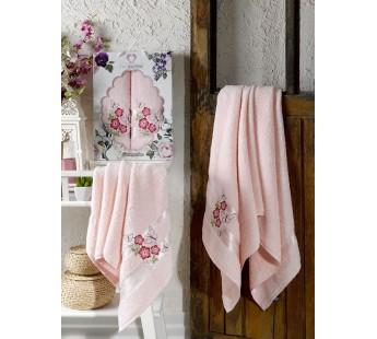 9627 Светло-розовый SAMANTHA махра (50х90+70х140 ) Набор полотенец в коробке TWO DOLPHINS