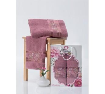 9480 Брусничный ROSELINDA 50х90+70х140 в коробке Набор полотенец TWO DOLPHINS