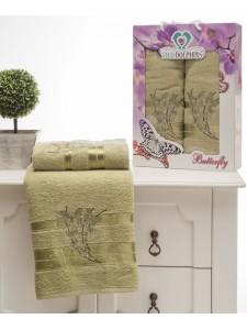 8476 Зеленый BUTTERFLY махра (50х90+70х140 ) Набор полотенец в коробке TWO DOLPHINS