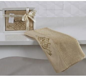 """Полотенце махровое """"KARNA"""" с вышивкой VELSEN 50x90 см 1/1 Бежевый"""