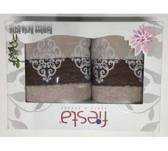 Бежевый Penelopa Бамбук ( 50х90+70х130 ) в коробке Набор полотенец Фиеста