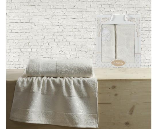 Комплект махровых полотенец KARNA жаккард LAUREN 50x90-70х140 см Кремовый