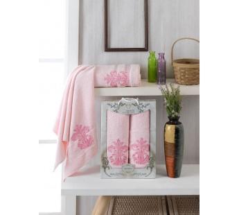 10152 Светло-розовый BURSEYA махра (50х90+70х140 ) Набор полотенец в коробке TWO DOLPHINS