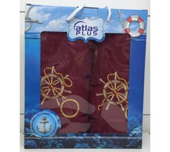 Бордо Якорь махра ( 50х90+70х140) в коробке Набор полотенец Атлас Текстиль