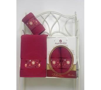 8981 Бордовый PRESTIJ махра (50х90+70х140 ) в коробке набор полотенец MERZUKA