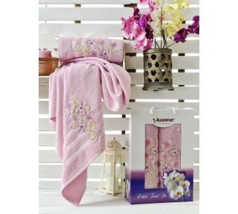 9194 Розовый ORKIDE махра (50х90+70х140 ) в коробке набор полотенец JUANNA