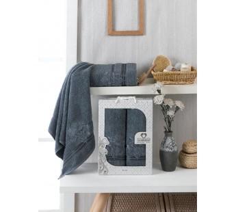 10154 Темно-серый PALMA махра (50х90+70х140 ) Набор полотенец в коробке TWO DOLPHINS