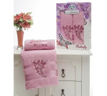 8476 Розовый BUTTERFLY махра (50х90+70х140 ) Набор полотенец в коробке TWO DOLPHINS