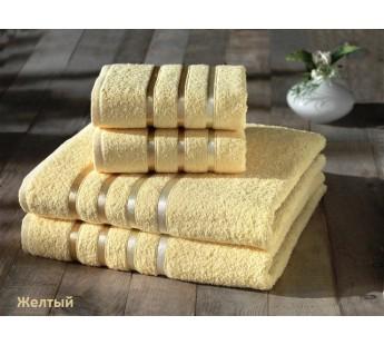 "Комплект махровых полотенец ""KARNA"" BALE 50х80*2-70х140*2 см 1/4 Желтый"