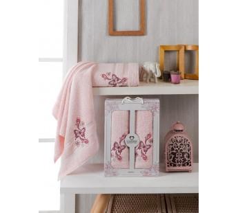 10156 Светло-розовый ALMIRA махра (50х90+70х140 ) Набор полотенец в коробке TWO DOLPHINS