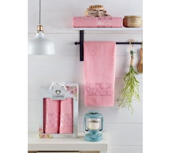 10699 Розовый EMIRA (50х90+70х140 ) Набор полотенец в коробке TWO DOLPHINS