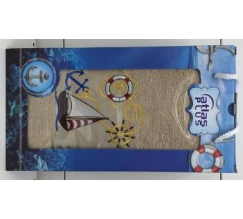 Бежевый Якорь махра ( 70х140) в коробке Набор полотенце Атлас Текстиль