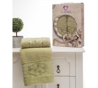 8804 Зеленый Романтика махра (50х90+70х140 ) Набор полотенец в коробке TWO DOLPHINS