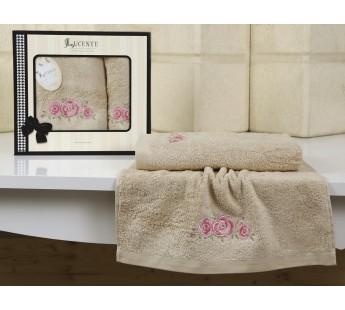 """Комплект полотенец бамбук """"LUCENTE"""" RISO 50х90-70х140 см Бежевый"""