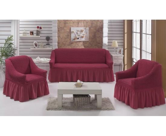 Набор чехлов дла дивана BULSAN 3+1+1 Грязно-розовый