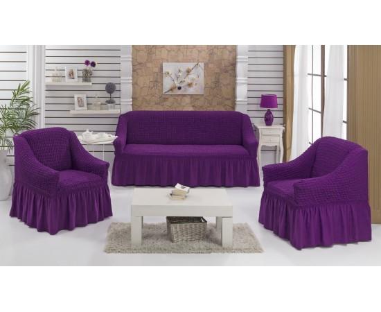 Набор чехлов дла дивана BULSAN 3+1+1 Фиолетовый