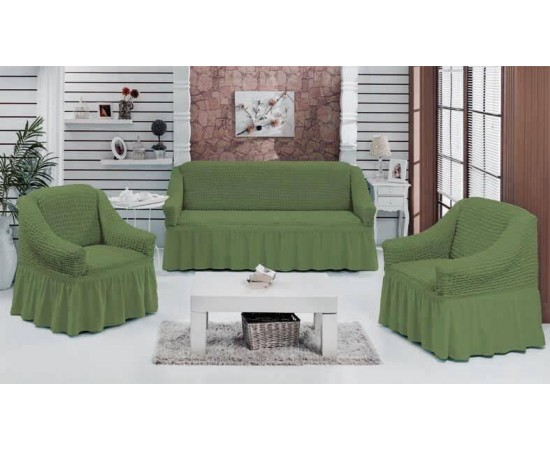 Набор чехлов дла дивана BULSAN 3+1+1 Зеленый