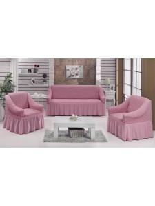 """Набор чехлов дла дивана """"BULSAN"""" 3+1+1 Светло-розовый"""