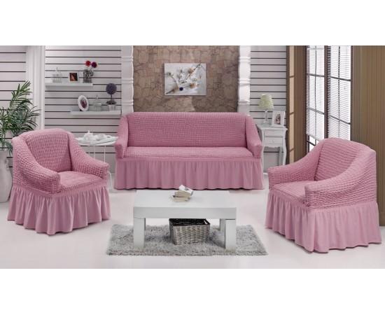 Набор чехлов дла дивана BULSAN 3+1+1 Светло-розовый