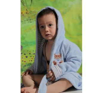 """Халат детский махровый """"KARNA"""" с капюшоном TEENY (Голубой)"""