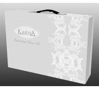 """Постельное белье """"KARA"""" сатин с вышивкой """"VALENCIA"""" 300.TC (Евро) Кремовый"""