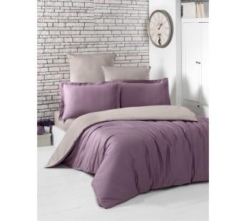Постельное белье сатин STYLE ( Eвро )Светло-Фиолетовый - Капучино