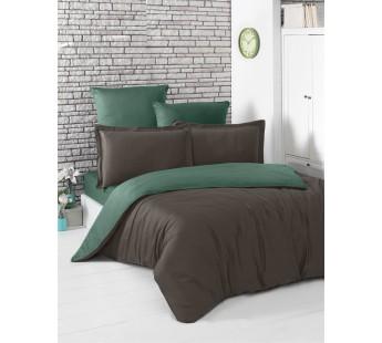 Постельное белье сатин STYLE ( Eвро )Шоколадный - Зеленый