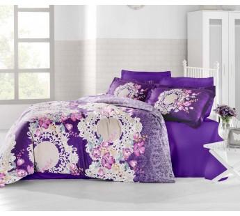 """Постельное белье """"ALTINBASAK"""" ELVIN Сатин (200x220) Турция Фиолетовый"""