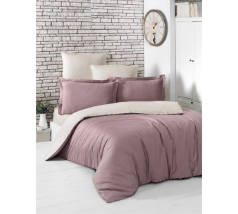 Постельное белье сатин STYLE ( Eвро )Грязно-розовый-Бежевый