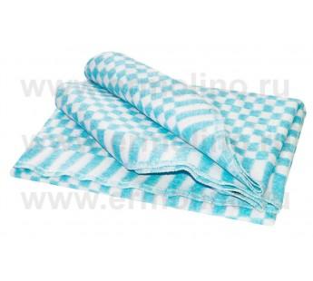 Бирюзовое Байковое 205х140 арт. 5772В 75% х/б +25% вискоза клетка Ермолино одеяло