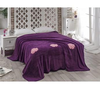 """Покрывало """"KARNA"""" вельсофт с вышивкой ROSE 200x220 см Фиолетовый"""