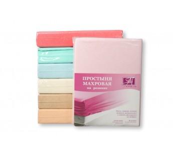 ПМР-Р-140 Розовая простыня махровая на резинке 140х200+30