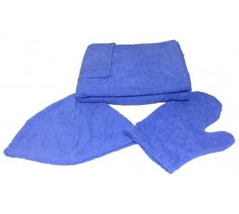 Голубой M81-001 Сауна Махровая Мужская ( Килт 120х60+варежка )ITUMA