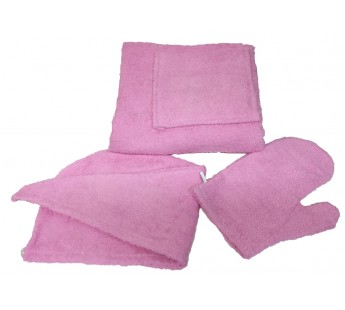 Светло-розовый W81-001 Сауна Махровая Женская ( Килт 120х80+чалма+варежка ) ITUMA
