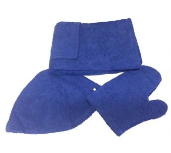 Темно-синий M81-001 Сауна Махровая Мужская ( Килт 120х60+варежка )ITUMA