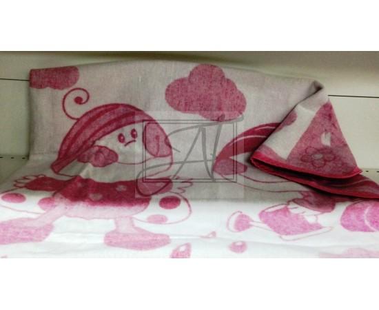 Одеяло байковое детское  Букашка размер 100х140 бело-розовое