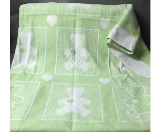 Одеяло маленькое Барни 100% х/б 100х140 бело-салатовое