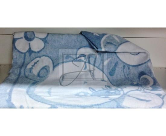 Одеяло маленькое Медвежонок 100% х/б 100х140 бело-голубое