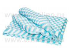 Бирюзовое Клетка 5772В 205х140 75% х/б +25% ПАН Байковое Ермолино одеяло