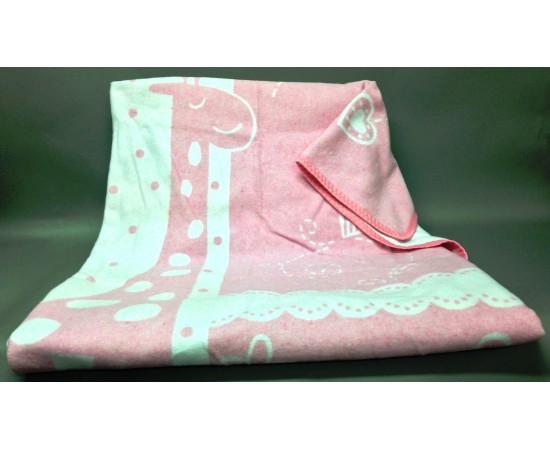 Детское байковое одеяло  Чунга-Чанга размер 100х140 бело-розовое