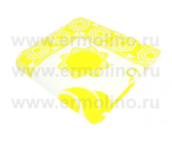Детское байковое одеяло для новорожденных, жаккардовое, производство - Ермолино 100% хлопок, желтое